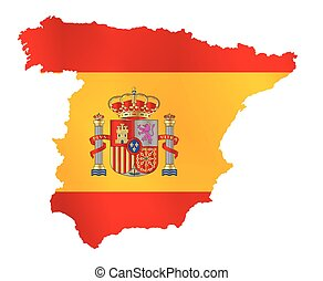 Silhouette Flag Map Of Spain