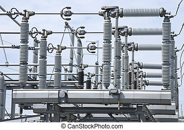 High Voltage Insulators - A view of some electrical power...