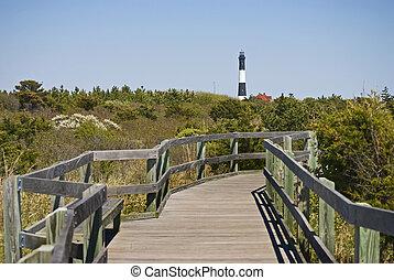 Walkway, Fire Island - A wooden boardwalk leads through the...