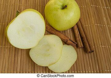 manzana, servilleta, Cortar, verde, canela, bambú, entero,...