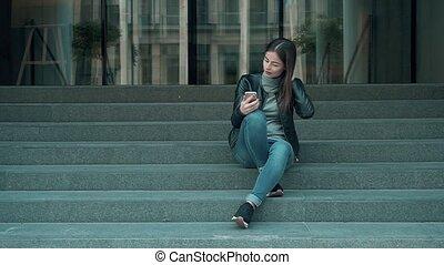 Student Female Woman Lady Girl Make Selfie. - Student Female...
