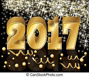 Happy New 2017 Year and Merry Christmas greeting card,...