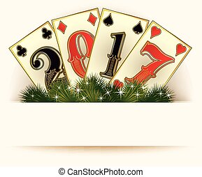 New 2017 year casino background poker cards, vector...