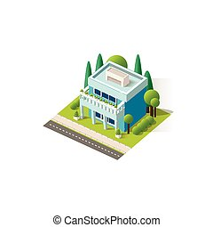 Vector isometrics cottage - Stock vector illustration...