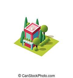 Vector isometrics cottage - illustration isometrics isolated...