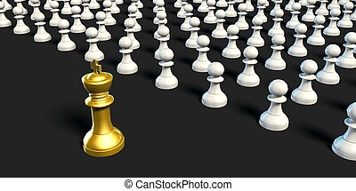 Business Chess Strategy King with Pawns