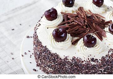 Black forest cake, Schwarzwald pie, dark chocolate and...