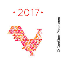 Chinese 2017 year of red rooster Rooster bird concept -...