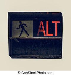 Vintage looking Red traffic light - Vintage looking Traffic...