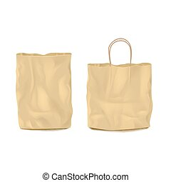Two Isolated Empty Paper Bags Set - Set of two isolated...