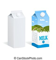 Realistic Milk Boxes Isolated - Two realistic images of...