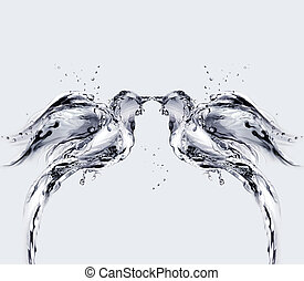 Water Birds of Love - Two birds made of water kissing.