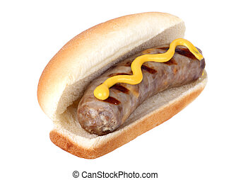 Bratwurst on a Bun - Grilled bratwurst on a bun with mustard...