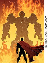 Superhero Versus Robot - Superhero facing giant evil robot.