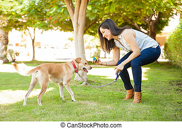 Woman throwing a ball to her dog - Profile view of a...