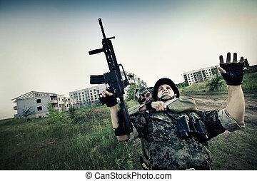 terrorista, pegando, soldado, refém