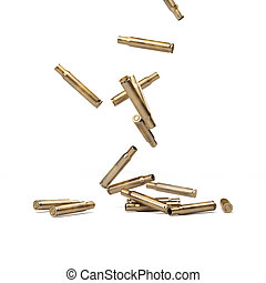 Falling Bullet Shells - 3D illustration - Falling Bullet...