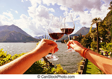 Italia, copas, lago, contra, Manos,  como