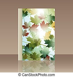 Book autumn motif. Maple leaves. Vector background - Book...