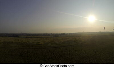 Ballooning. Aerial view of landscape in countryside -...