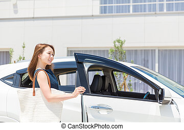 woman and car - Beautiful young asian woman and car