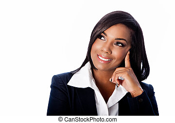 Face of beautiful smiling thinking business woman