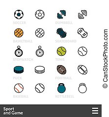 Black and color outline icons, thin stroke line style design...