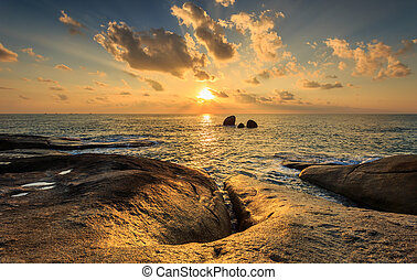 Landscape of Hin Ta Hin Yai and sunrise at Samui, Thailand