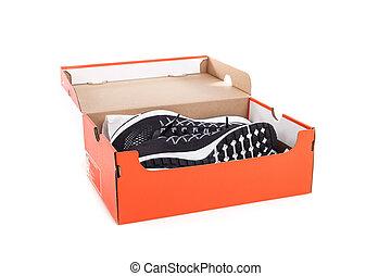 caja, zapatos, encima, aislado, zapatillas, nuevo, tomado,...