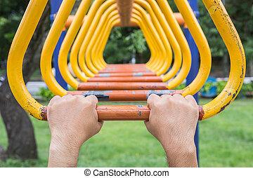 Acero, trapecio, Al aire libre, barra, parque, mano, equipo,...