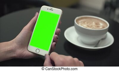 Woman Using a Mobile Phone with Green Screen - Girl in the...