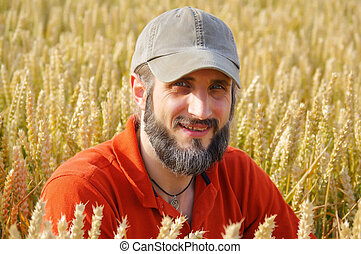 bearded man sitting in a wheat field on sunny day