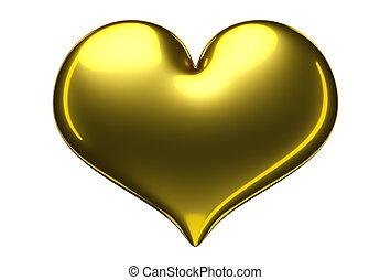 3d golden heart.