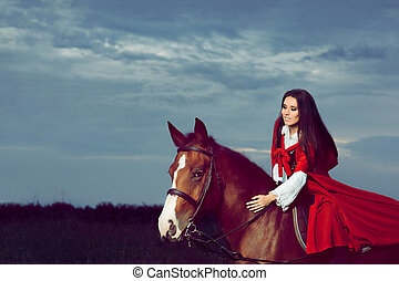 Beautiful Princess Riding a Horse - Portrait of a warrior...