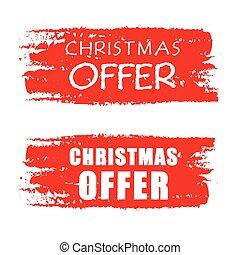christmas offer, red drawn banner v