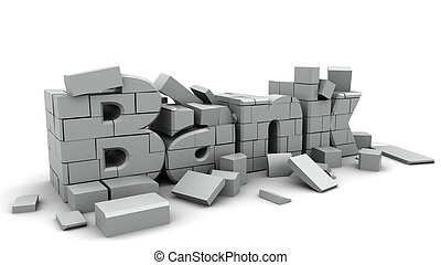 bank collapse - 3d illustration of bank collapse concept,...
