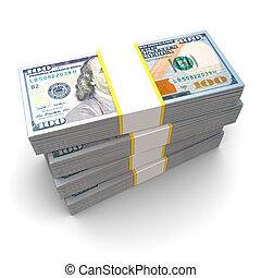money stack - 3d illustration of dollars stack