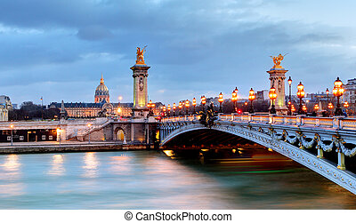 Paris bridge Alexandre 3, III and Seine river