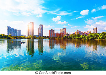 Obolon District, Kyiv, Ukraine - Scenic summer view of...