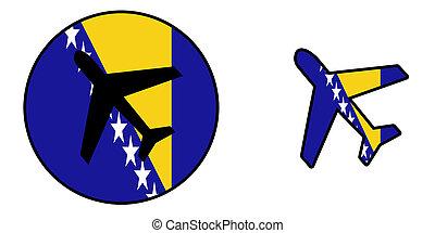 Nation flag - Airplane isolated - Bosnia Herzegovina -...