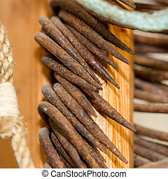 Old rusted fishing hooks - Close-up - Old rusted fishing...