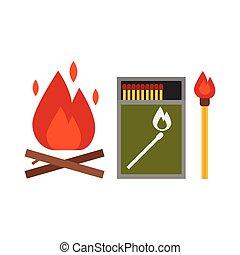 Fire Starter Kit - Fire starter kit. Matchbox, matchstick...