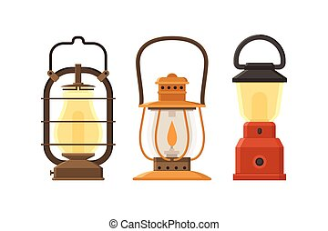 Oil Lamp Set - Vintage oil lantern set isolated on white...