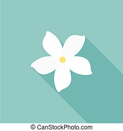 jasmine flower icon with long shadow, flat design