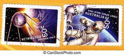 Franqueo, Australia, espacio, 1965, :, -, 50, años, sellos,...