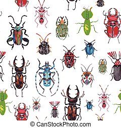 seamless background with beetles