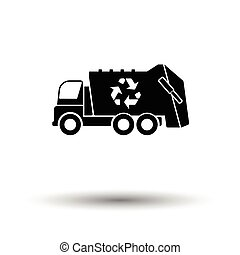 Garbage car recycle icon. White background with shadow...