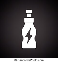 Energy drinks bottle icon Black background with white Vector...