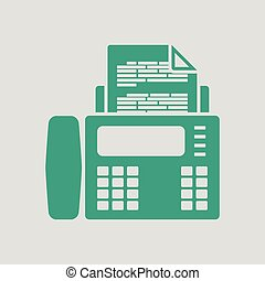 Fax icon. Gray background with green. Vector illustration.