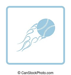 Baseball fire ball icon. Blue frame design. Vector...